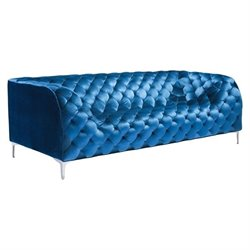 Brika Home Velvet Sofa in Blue