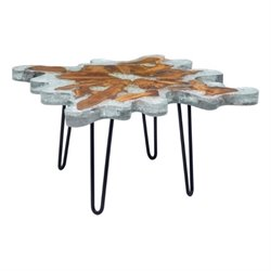 Brika Home Glass Square Coffee Table in Gray