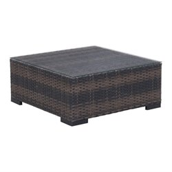 Brika Home Outdoor Glass Coffee Table in Brown