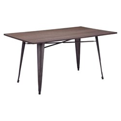 Brika Home Rectangul Dining Table in Rustic Wood
