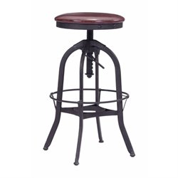 Brika Home Adjustable Bar Stool in Burgundy and Antique Black