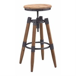Brika Home Adjustable Bar Stool in Natural Pine and Industrial Gray