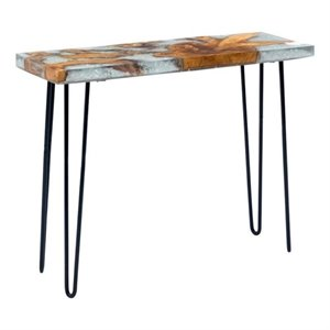 Brika Home Glass Console Table in Gray