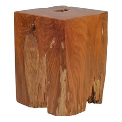 Brika Home Teak Table Stool in Antique Gold