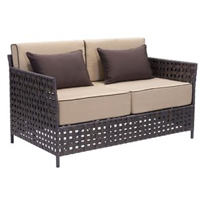 Brika Home Outdoor Sofa in Brown and Beige