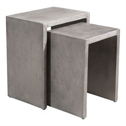 Brika Home 2 Piece Patio Nesting End Table Set in Cement