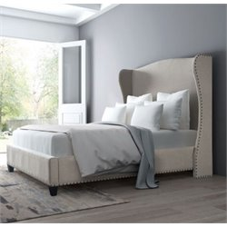 MER-1504 Enlightenment Upholstered Bed in Beige