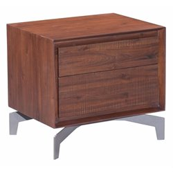 Brika Home 2 Drawer Nightstand in Chestnut