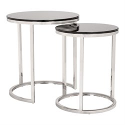 Brika Home 2 Piece Nesting Table Set in Black