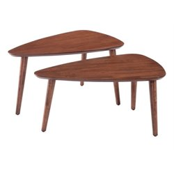 Brika Home 2 Piece Nesting Table Set in Walnut