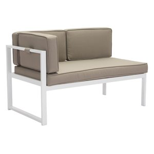Brika Home Left Facing Patio Loveseat in White and Taupe