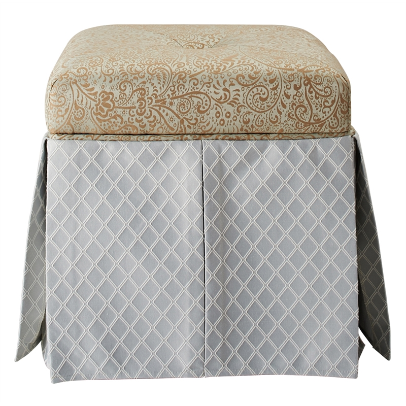Brika Home Tufted Square Storage Ottoman in Teal Tan