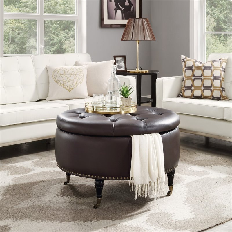 Brika Home Faux Leather Tufted Storage Ottoman in Espresso