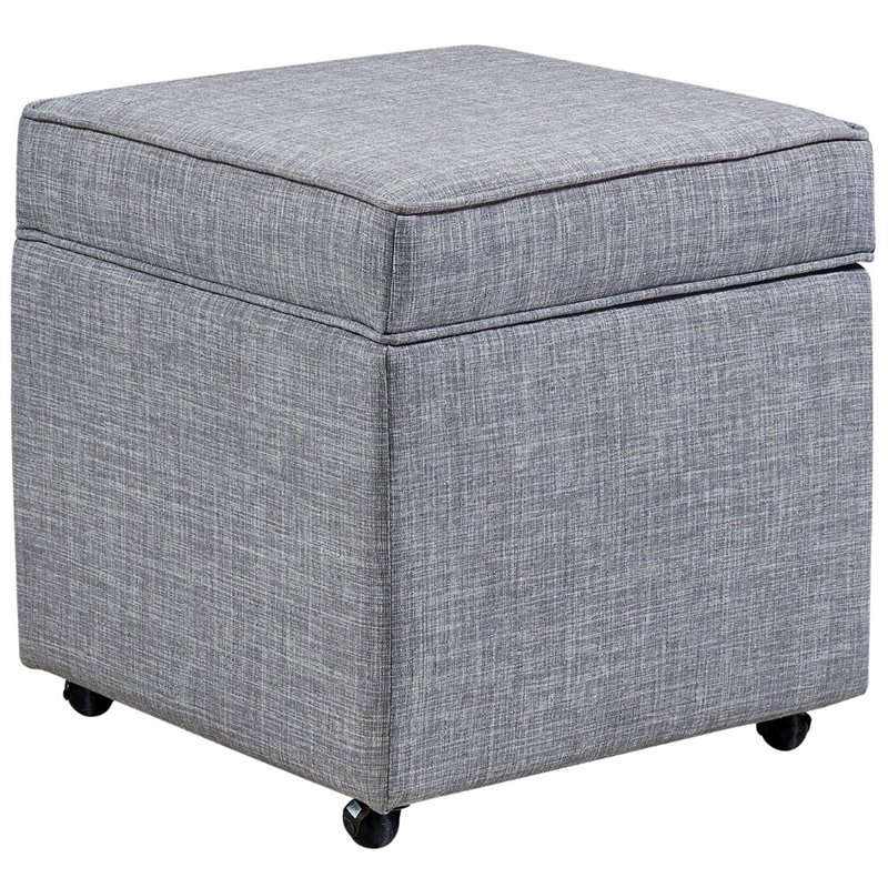 Brika Home Tufted Storage Ottoman in Light Gray