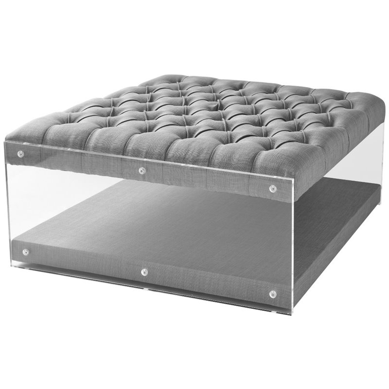 Brika Home Coffee Table Ottoman in Light Gray