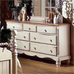 Bowery Hill Antique White Double Dresser