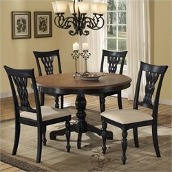 Bowery Hill 5 Piece Dining Set in Rubbed Black and Cherry