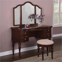 Bowery Hill Wood Makeup Vanity Table with Mirror and Bench