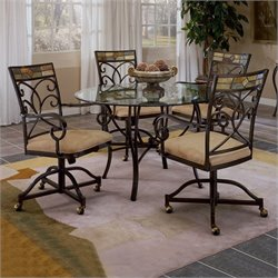 Bowery Hill 5 Piece Round Dining Table Set with Castered Chairs