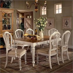 Bowery Hill 7 Piece Rectangular Dining Table Set in White
