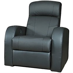 Bowery Hill Leather Home Theater Recliner in Black