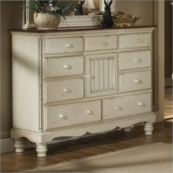 Bowery Hill 9 Drawer Mule Chest in Antique White Finish