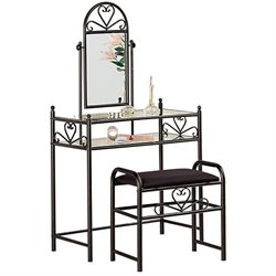 Bowery Hill Frosted Black Wrought Iron Makeup Vanity Table Set with Mirror in Black Velour