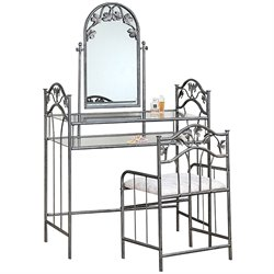 Bowery Hill Flower Pattern Vanity Table Set with Mirror in Nickel-Bronze Finish