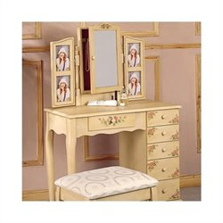 Bowery Hill Hand Painted Wood Makeup Vanity Table Set with Mirror in Ivory