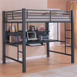 Bowery Hill Full Size Metal Loft Bed with Computer Workstation in Black