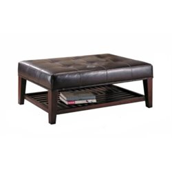Bowery Hill Contemporary Faux Leather Tufted Ottoman with Storage Shelf