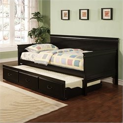 Bowery Hill Trundle Wood Daybed in Black Finish