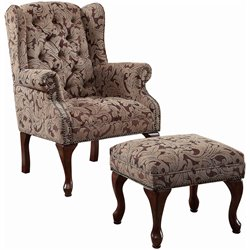 Bowery Hill Button Tufted Wing Accent Chair with Ottoman in Chenille Fabric