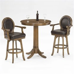 Bowery Hill 3 Piece Pub Table with 2 Stools in Rich Cherry