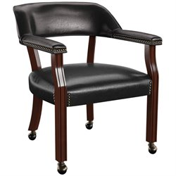 Bowery Hill Box Seat Black Vinyl Arm Chair with Casters