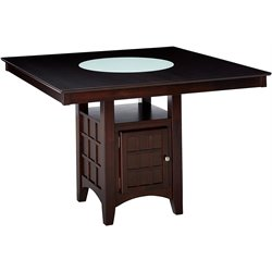 Bowery Hill Counter Height Square Dining Table with Storage Base in Cappuccino