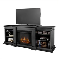 Bowery Hill Indoor TV Stand Electric Fireplace in Black