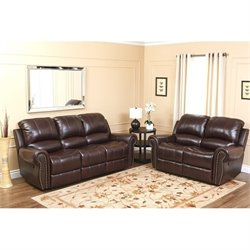 Bowery Hill Leather Reclining 2 Piece Sofa Set