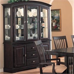 Bowery Hill China Cabinet with Doors and Drawers in Rich Dark Cappuccino