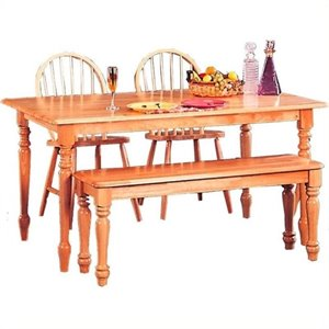 Bowery Hill Rectangular Leg Dining Table in Natural Wood Finish