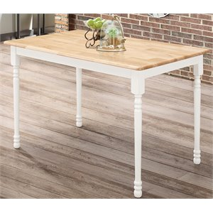 Bowery Hill Rectangular Dining Table in Warm Natural and White Wood