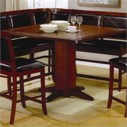 Bowery Hill Counter Height Pedestal Dining Table in Distressed Dark Brown
