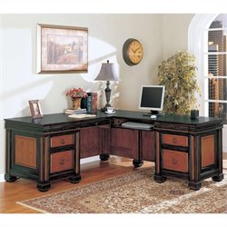 Bowery Hill Traditional L-Shaped Desk in Black Cherry