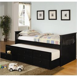 Bowery Hill Daybed with Trundle and Storage Drawers in Black