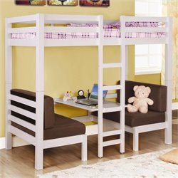 Bowery Hill Twin over Twin Convertible Loft Bunk Bed in White Finish
