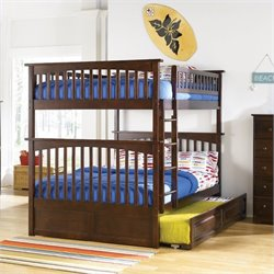 Bowery Hill Full over Full Bunk Bed in Antique Walnut
