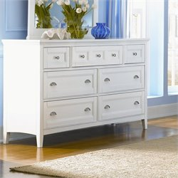 Bowery Hill 7 Drawer Double Dresser in Painted White Finish