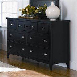 Bowery Hill 7 Drawer Double Dresser in Black Finish
