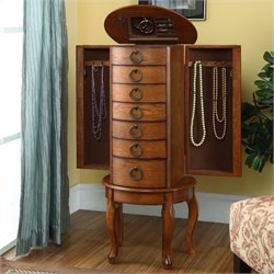 Bowery Hill Jewelry Armoire in Burnished Oak