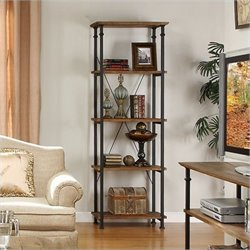 Bowery Hill Wood and Metal Bookcase in Rustic Brown